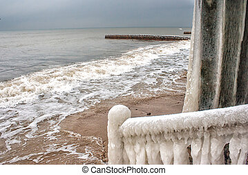 storm at sea in winter
