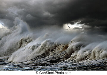 Storm at sea - Stormy ocean wave breaking the shore