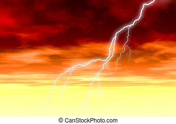 Storm at Sunrise - Stormy clouds at sunrise with lightning...