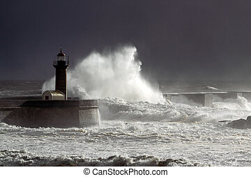 Storm at the harbor entrance of the river Douro. Low edition...