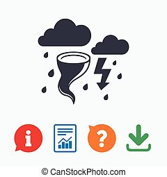 Storm bad weather sign icon. Clouds with thunderstorm. Gale hurricane symbol. Destruction and disaster from wind. Insurance symbol. Information think bubble, question mark, download and report.