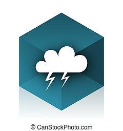 storm blue cube icon, modern design web element