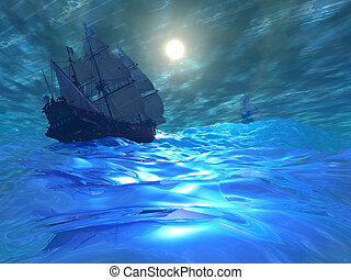 STORM BREWING - Two ships navigate high seas on this stormy...