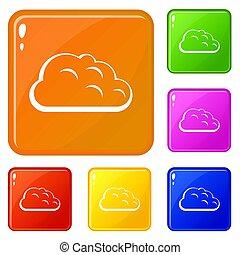 Storm cloud icons set color
