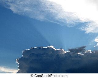 Storm-cloud illuminated by the sun.