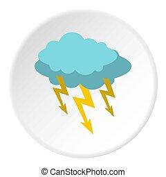 Storm cloud lightning bolt icon circle