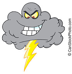 Storm Cloud With Thunderbolt - Cartoon Black Cloud With...