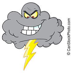Cartoon Black Cloud With Lightning