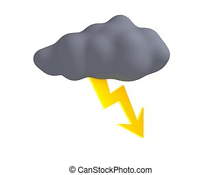 Storm cloud with thunderbolt isolated on white. 3d rendered illustration.