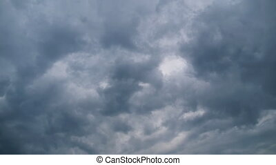 Storm Clouds are Moving in Sky, Timelapse. Raining cloudy in bad weather. Thunderstorm. Typhoon Sky, tornado cloud. Time-lapse supercell storm cloud. Dark and gray clouds flying in the air. Atmospheric weather phenomena.
