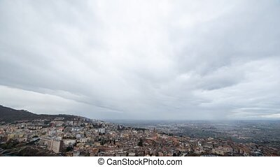 Storm clouds at sunset, Tivoli, Italy. Time Lapse