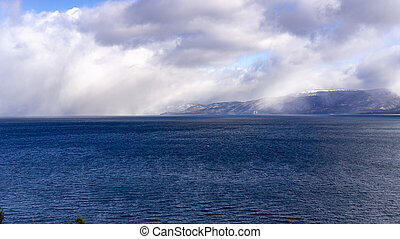 Storm clouds gathering above south Lake Tahoe on a crisp winter day, California