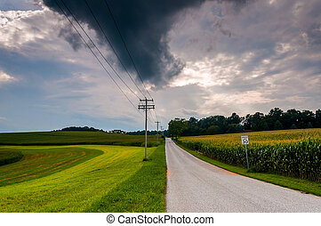 Storm clouds over a country road in York County, Pennsylvania.