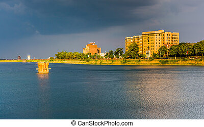 Storm clouds over Druid Lake at Druid Hill Park in Baltimore, Ma