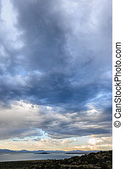 Storm clouds over mono lake