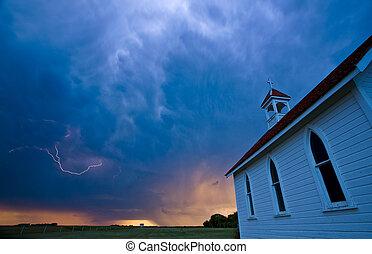 Storm Clouds over Saskatchewan country church