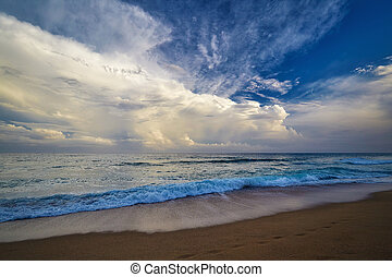 Storm clouds over the Spanish beach