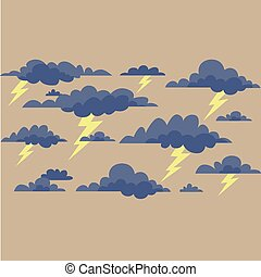 clouds with lightning on a cream
