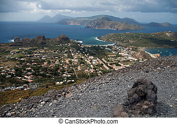 Storm coming on the coast of Lipari Island, Vulcano, Italy