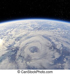 Storm - Cyclone view from the Earth orbit 3d render
