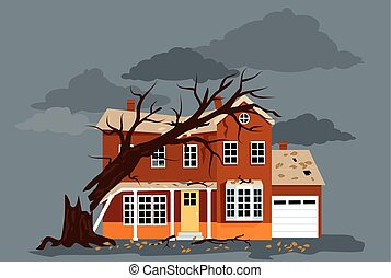 Storm Damage - House damaged by a fallen tree, EPS 8 vector...