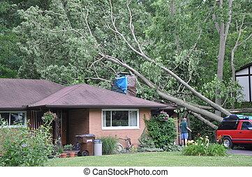 Storm damage - House damaged by bad weather