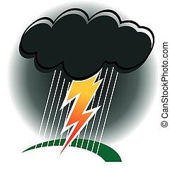 Storm - dark cloud, thunder, lightning and rain