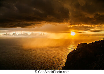 storm dark clouds at sunset above the Atlantic ocean