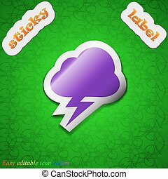 storm  icon sign. Symbol chic colored sticky label on green background. Vector