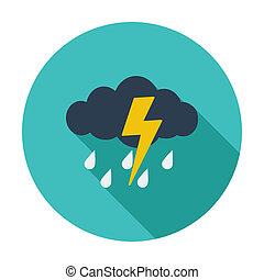 Storm. Single flat color icon. Vector illustration.