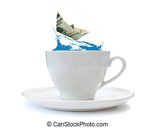 Storm in a teacup - Dollar paper boat riding a steep wave in...