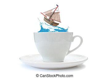 Sailing boat crashing against a wave inside a teacup