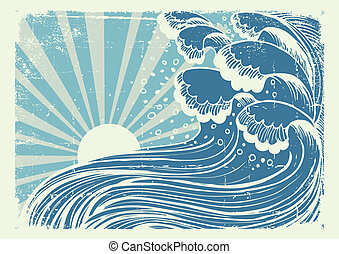 Storm in blue sea. Vectorgrunge image of big waves in sun ...