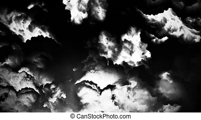storm in clouds bw