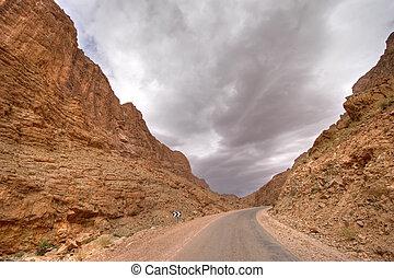 storm in desert valley