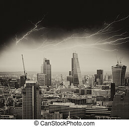 Storm in London. Bad weather over city skyline