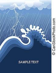 Storm in ocean with big wave