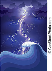 Storm in ocean with ightning strikes and rain.Vector...