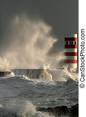 Storm in the lighthouse - Storm waves over beacon of the ...