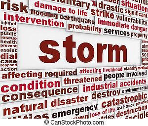 Storm meteorology warning message background