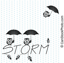Storm - Monochrome Owl storm twig text isolated on white...