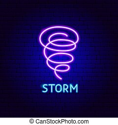 Storm Neon Label. Vector Illustration of Weather Promotion.