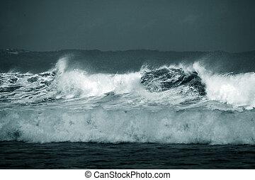 Storm - Ocean waves throughout at storm. Indian ocean. Bali....
