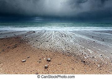 storm on Atlantic ocean coast