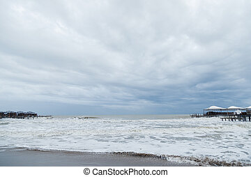 Storm on sea during bad weather. Nature power landscape