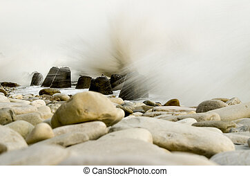 Storm on the beach with a long exposure