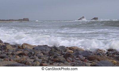 Storm on the ocean coast