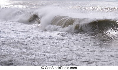 Storm on the Sea. Huge Waves are Crashing and Spraying on...