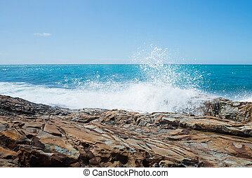 Storm on the sea. Rocky beach, Tyrrhenian sea