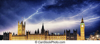 Storm over Big Ben and House of Parliament - London